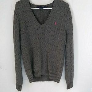Women's Ralph Lauren XL Cable Knit v-neck Sweater